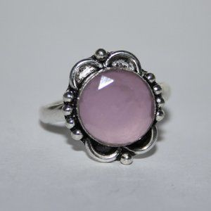 Silver and rose quartz ring size 10.5